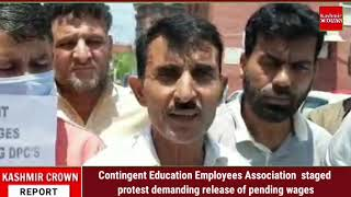 Contingent Education Employees Association  staged protest demanding release of pending wages