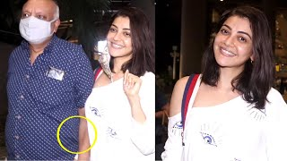 kajal aggarwal Father Very Protective for Daughter hold hands when media started Recording