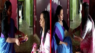A daughter ties rakhi to her mother and mother ties rakhi to her daughter in Pernem!