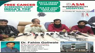 ASM Super Speciality Hospital is holding a Free Cancer Screening Camp On 5th Sep 2021 10 am to 5pm