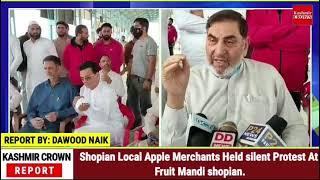 Shopian Local Apple Merchants Held silent Protest At Fruit Mandi shopian.