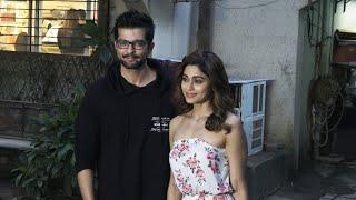 Rakesh Bapat And Shamita Shetty Spotted Kromakay Salon Outside At Juhu