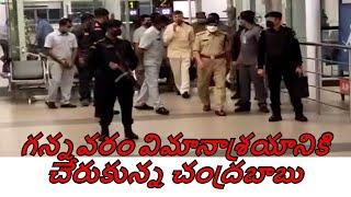 Chandrababu arrives at Gannavaram Airport | s media