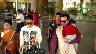 Saif Ali Khan & Kareena Kapoor With SUPER CUTE Taimur SPOTTED At Mumbai Airport