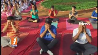 Nandamuri Balakrishana Yoga Asanas on World Yoga Day 2017 | Hyderabad | iNews