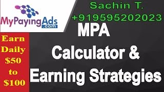 MY PAYING ADS 2.0 New Calculator with Review & $50 to $100 Earning Strategy in HINDI By Sachin T