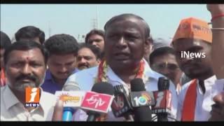 Bajrang Dal BJP Leaders Protest Over Demolished Cow Shed | Ranga Reddy | iNews