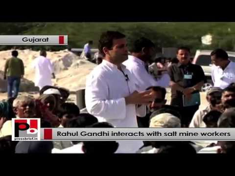 Rahul Gandhi to salt mine workers - I am happy to listen you issues