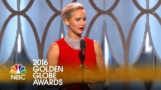 Jennifer Lawrence Wins Best Actress in a Comedy at the 2016 Golden Globes