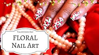 FLORAL NAIL ART FOR VALENTINE'S DAY (SRI LANKAN)