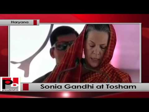 Sonia Gandhi speaks at Congress election rally at Tosham, Bhiwani in Haryana