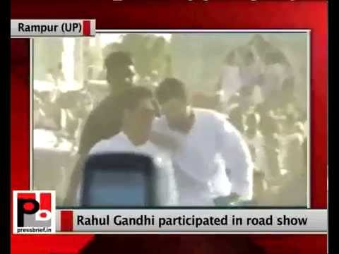 Rahul Gandhi participates in a road show in Rampur (UP)