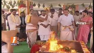 Governor Narasimhan And CM KCR Inaugurated Staff Building Blocks At Raj Bhavan    iNews