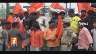Bajrang Dal Activists Protest On MIM Akbaruddin Owaisi Controversial Comments In LB Nagar | iNews