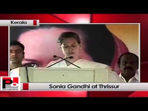 Sonia Gandhi at Thrissur, Kerala