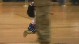 Girl Dashes for Soldier Dad at Reunion