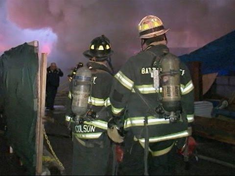 Raw- Construction Fire Near NY Penn Station News Video