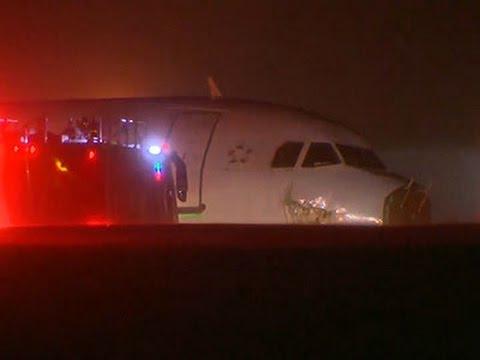 Raw- Passengers Hurt As Plane Skids Off Runway News Video
