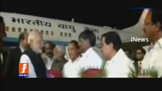 Modi Reached to Hyderabad | DGP Conference | TRS Leaders and Governor Welcomes Modi | iNews
