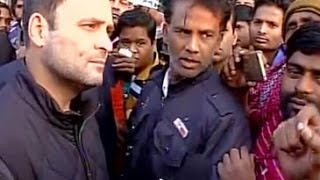 Rahul Gandhi meets people outside ATMs in New Delhi