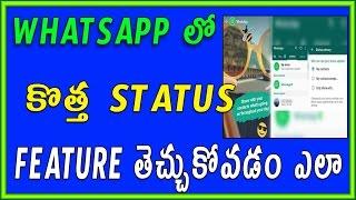 How to use the new whatsapp status feature | Telugu Tech Tuts