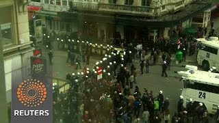 Belgian police confront protesters in Brussels square News Video