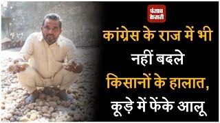 कांग्रेस के राज में भी नहीं बदले किसानों के हालात, कूड़े में फेंके आलू