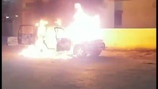 बीच सड़क पर खड़ी स्कार्पियो में लगी भीषण आग