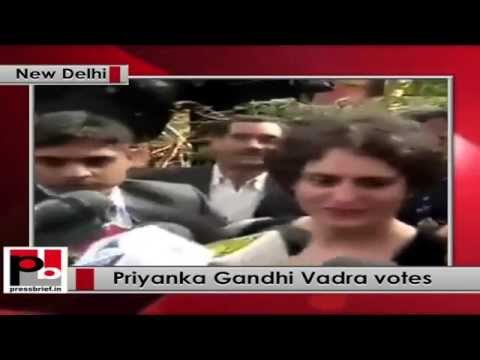 Delhi polls - Priyanka Gandhi casts her vote; says everybody has to learn from everyone