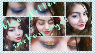 Blue Smokey Glitter Eyes makeup for BEGINNERS under Rs.300 | NO brush needed | New Year Party Makeup