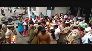 Contract Staff Nurses Protest at CM Camp Office | Police Arrests Agitators | Hyderabad | iNews