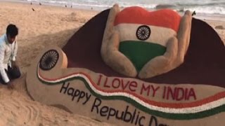 I love my India' says this sand art on 68th Republic Day