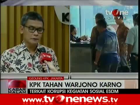 KPK Tahan Sekjen ESDM Terkait Korupsi Anggaran Senilai Rp9,8 Miliar 6 Januari 2015