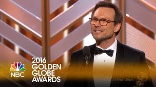 Christian Slater Wins Best Supporting Actor on TV at the 2016 Golden Globes