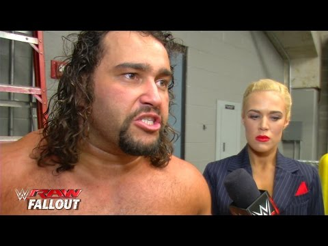 Rusev reacts to the Russian flag getting caught above the ring - Raw Fallout - February 2, 2015 - WWE Wrestling Video