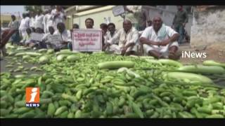 Penamakuru Farmers Throw Vegetables on Road   Protest Against Land Acquisition   Guntur   iNews