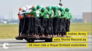Indian Army sets world record as 58 men ride a single Royal Enfield motorbike