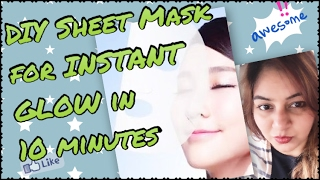 DIY KOREAN SHEET MASK (Rs.30) for GLOWING BRIGHT skin in minutes | Korean Beauty Inspired Face Mask