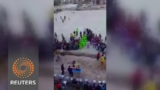 Mobile phone captures moment of Iraq soccer match blast News Video