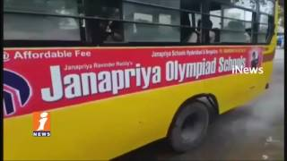 RTA Officers Raids On Schools Buses In Rajendra Nagar | 5 Bus Seized | iNews