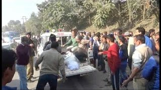 Uncontrolled truck hits  a bullet bike on NH 21, wife died and husband injured & admitted!