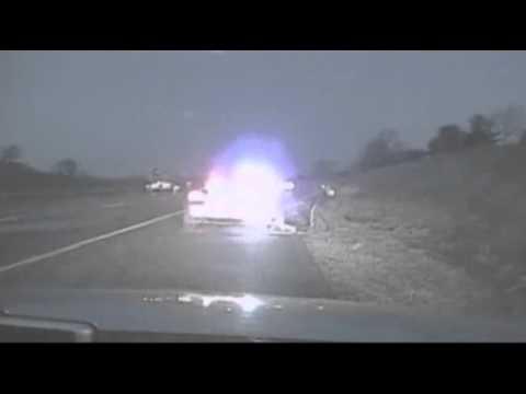 Raw- Careening Truck Clips Iowa Patrol Car News Video