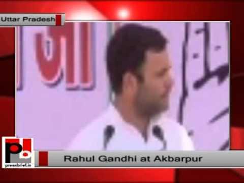 Rahul Gandhi addresses an election rally in Naubasta, Akbarpur, Uttar Pradesh