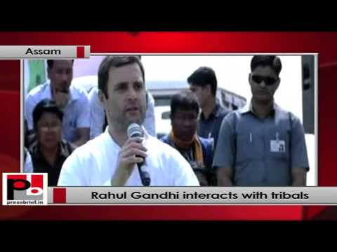 Rahul Gandhi Interacts with Tribal Group in Diphu, Assam