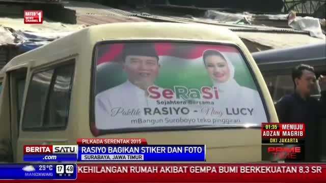 Bakal Calon Wali Kota Surabaya Bagikan Stiker