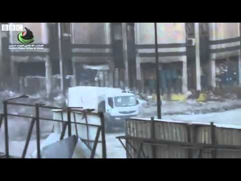 Syrians flee to UN vehicles after mortar fire in Homs News Video