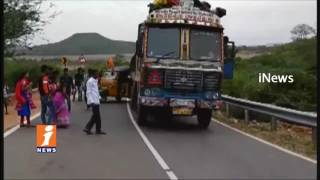 Road Accident At Nagarjuna Sagar Ghat Road | Lorry Hits Auto | iNews