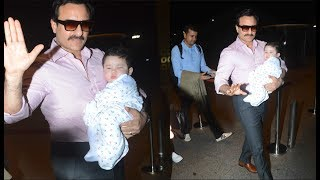 Taimur Ali Khan looks like Cotton Candy in his father Saif Ali Khan's arms