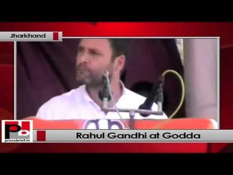 Rahul Gandhi addresses a rally at Godda (Jharkhand)
