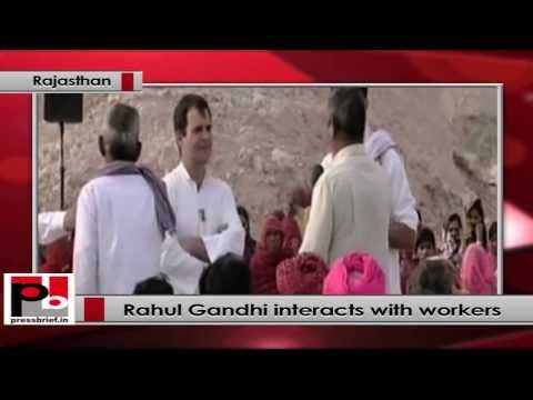 Rahul Gandhi interacts with Stone mine workers in Rajasthan